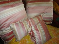 POTTERY BARN CREAM & ROSE PINK STRIPE SILK (4) QUEEN DUVET COVER PILLOWS SET