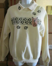 LEE Cotton Blend Cream Sweatshirt with Paw Prints and a Picture of a Yorkie  Sm