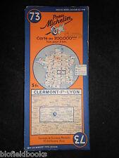 Vintage French Michelin Map of Clermont/Lyon (Sheet 73/Carte de France) c1937