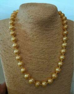 """Stunning AAA+ 18"""" 9-10 mm Real natural south sea gold pearl necklace 14k gold"""