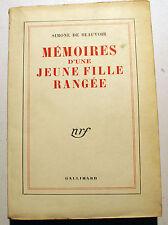DE BEAUVOIR/MEMOIRES D UNE JEUNE FILLE RANGEE/NRF/1961