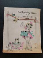 Vtg Birthday Greeting Card LITTLE Girl Clothes Line Wash Doll pink Aqua 1930s