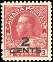 1926 Canada Mint H  2c on 3c F-VF Scott #140 KGV Admiral Provisional Stamp