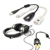 Practical USB To 3.5mm Mic Headphone Jack Headset Audio Adapter 7.1 Sound Card
