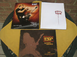 Lot of 3 ESP GUITARS & BASSES 2006  2007 USA PRODUCT CATALOG 2010 Anniversary