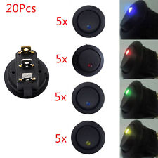 20PCS Led Dot Light 12V Car Auto Boat Round Rocker ON/OFF Toggle Switch SPST