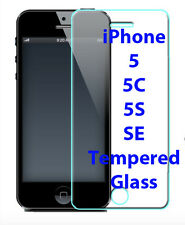 2 Pack NEW CLEAR Tempered Glass Screen Protector Cover for Apple iPhone SE 5S 5