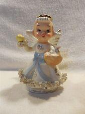Vintage Japan Ceramic Spaghetti Trim April Birthday Girl Angel Figurine