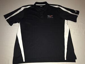 Corvette Mens Under Armour Tech Polo Shirt W/Corvette Logo Black Size XXL