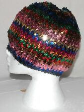 PAILLETTES COLORATE BASCO CAPPELLO BERRETTO Disco Diva Costume Festa Costume cappucci
