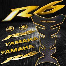 "Chromed Gold Pro Fuel Tank Pad+8"" 3D Logo+Letter+YZF-R6/R6S Emblem Sticker Kit"