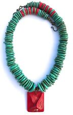 BEAUTIFUL HEISHI TURQUOISE RED CARVED CORAL BIRD STYLISH NECKLACE