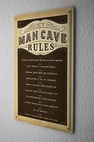 """Nostalgic Tin Sign  Man Cave Rules 8X12"""""""