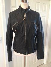JouJou Vegan  Faux Leather Motorcycle Zippered Lined Jacket Coat M Mint!