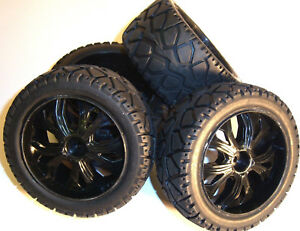 BS937-001/2 1/10 Scale RC Buggy Street Wheels and Tyres x 4 Black Oversized