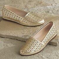 Women's Shoes Lindley Shoe by Ashro 10 M Gold Flats Slip On Bling Dazzle