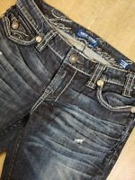 #306 MEK DENIM JEANS OAXACA SLIM BOOT CUT DISTRESSED FLAP POCKETS Tagged 26x34