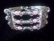 Fashion Tibetan Silver Light Pink Crystal & Pink Pearl Bead CUFF Bracelet B-10