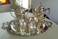WALLACE ROSE POINT TEA SET SILVER PLATED COMPLETE SUGAR CREAMER COFFEE TEA POT
