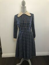 Vintage 1960s Mcm Mod Blue Window Plaid Pleated Skirt Dress Peter Pan Collar