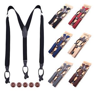 Mens Adjustable 35mm Wide Trouser Belt Suspender Elastic Leather Button Braces