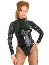 Honour Women's Sexy Bodysuit Black PVC Mistress with High Collar Longsleeves