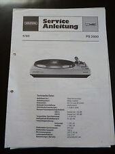Original Service Manual Grundig Plattenspieler PS 2000