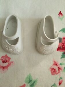 Ideal Toy Doll Shoes Marked 14 Solid White Color Mary Jane Style Size Closure Ru