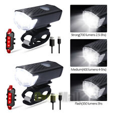 2MTB Road Bike Cycling Front Light Bicycle Bright LED USB Rechargeable Headlight