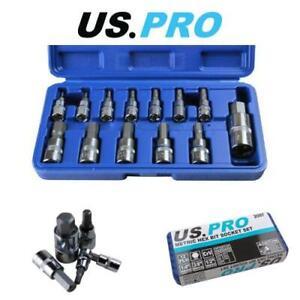"US PRO Tools 13pc Metric Hex Bit Socket Set 2 - 14mm 1/4"" 3/8"" 1/2"" - 2097"