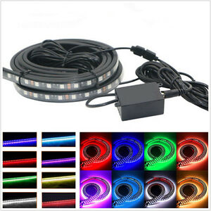 4 Pcs 8-Color LED RGB Car Off-Road Tube Underglow Light Strip Phone APP Control