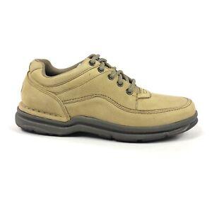 Rockport World Tour Classic Men 8 Sand Nubuck Leather Tan Walking Shoes K70883