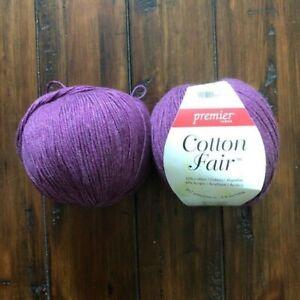 Premier Yarns Cotton Fair Solid Yarn-Plum 3.5oz/100g ~ Lot of 2 New & Used
