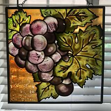 Fine Vintage Stained Glass Suncatcher Grapes Bunch w Leaves Art Beauty