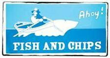 Retro Vintage Style Fish and Chips Sign Seaside Nautical Gift