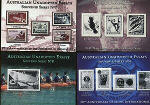 AUSTRALIA 12 SHEETS OF AUSTRALIAN UNADOPTED ESSAYS OF STAMPS COMPLETE