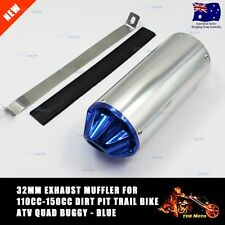 BLUE 32mm Slip On Exhaust Pipe Muffler Dirt Pit Trail Pit Pro Bike ATV Atomik