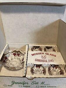 VINTAGE MOSSER GLASS 5PC JENNIFER/BERRY SET #206.