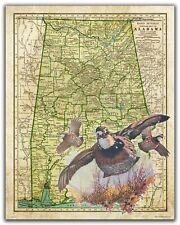 Quail Hunting Vintage Alabama State Map Art Print Calls Camp Cabin Wall Decor