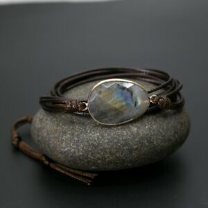 Brown Leather Friendship Bracelet & Labradorite Stone Wrap Bangle Wristband Rope