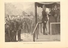 1893 ANTIQUE PRINT - REVIEW OF THE LONDON FIRE BRIGADE IN HYDE PARK