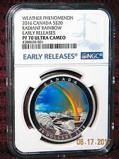 2016 CANADA $20 WEATHER PHENOMENON: RADIANT RAINBOW SILVER COIN - NGC PF70 UC ER
