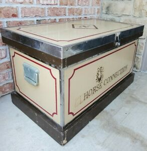 Vintage Tack Trunk Chest Horse Equestrian Custom Box with Chrome Trim