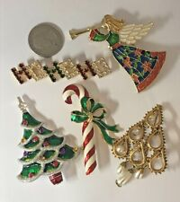 Vintage Christmas Jewelry Signed Rhinestone Pin Brooch Holiday Tree Angel Candy