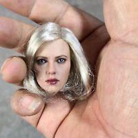 """1:6 Black Widow Scarlett Johansson Silver Hair Head Sculpt Model Fit 12"""" Figure"""