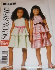5443 SEE & SEW  PATTERN SZ 2-5~GIRLS LINED TIERED/RUFFLE DRESS UC