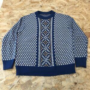 Womens Icelandic Style Jumper Sweater M Medium Blue Patterened B6052