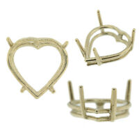 14K White Gold Heart Wire Basket Setting Mounting 4 Prong 0.12ct - 15.25ct