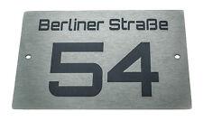 Hausnummernschild Hausnummer Edelstahl Design mit Wunschnummer Straßenname