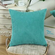 Home Decor Throw Pillow Case Covers 18x18 Soft Corduroy Corn Striped, Turquoise